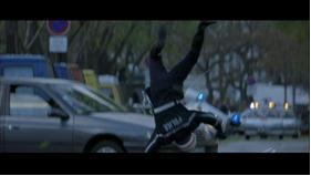 Finally, we see the action of a motorcyclist crashing into a civilian vehicle, broken into three separate edits. By fragmenting the single event, the collision gains a quality of dissonance. This tendency of jarring discord seeks to startle the viewer, illustrating the films preference for emotional response over a unity of the progression of events.