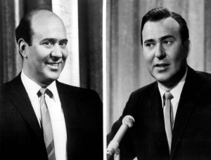 Carl Reiner with and without toupee in 1964.