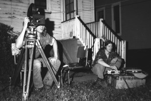 Jim Krell filming, Summer 1974, 3AM; Jeff Travers on sound. Photo: John Vasilik.