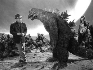 Ishirō Honda on the set of Mothra vs.Godzilla 1964.