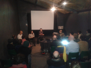 Kurdish activists lead a post-screening discussion.