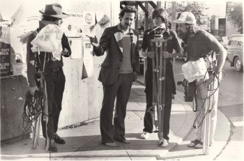 Herzog, Harrod, and Les on the set of Eats His Shoe.