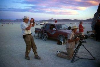 Les and Harrod film Burning Man