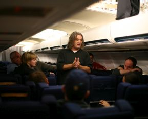 Director Paul Greengrass prepares for a take.