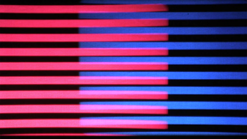 Figure 3: Morris, Second Hermeneutic, showing bands of red and blue in screen.