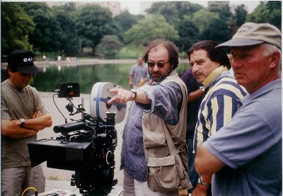 John Gallagher on the set of Blue Moon in Central Park.