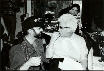 Mama Scorsese on the set of Men Lie