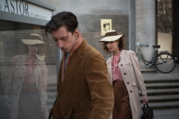 Gestapo spy Stella Goldschlag (Laila Maria Witt) finds Cioma Schönhaus (Max Mauff) - THE INVISIBLES - Courtesy of Greenwich Entertainment