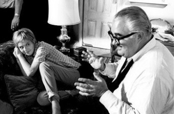 """Director Robert Aldrich and Susannah York on the set of """"The Killing of Sister George"""" 1968 Aldrich Studios © 1978 Bob Willoughby"""