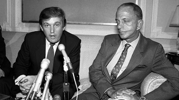 "Donald Trump (L), owner of the New Jersey Generals, of the U.S. Football League, said 10/18 his league's $1.32 billion antitrust suit against the national Football League will crack ""one of the great monopolies in the is country."" At right is his attorney Roy Cohn."
